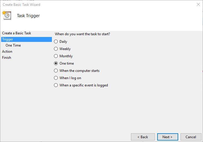 Create basic task task trigger